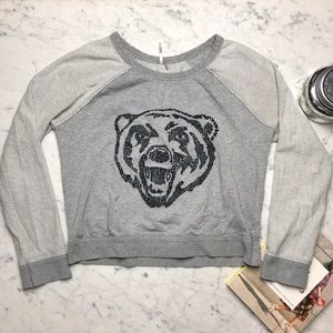 Free People Embroidered Bear Graphic Sweatshirt